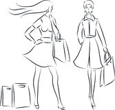 Zakupy kobiety Ilustracji