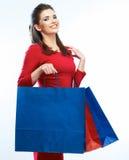 Zakupy kobiety chwyta torby, portret odizolowywający Biały tło Obrazy Royalty Free