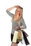 Zakupy kobiety mienia torba na zakupy odizolowywający fotografia stock