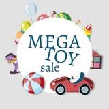 Zakupy kosz z zabawkami ilustracja wektor