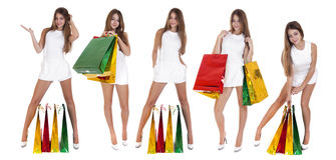 Zakupy, Młode blondynek dziewczyny z kolorowymi torba na zakupy w whit Obraz Royalty Free