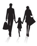 zakupy rodzinna sylwetka Fotografia Stock