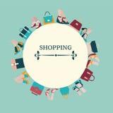 Zakupy tło kobiety zdojest i buty - ilustracja ilustracja wektor