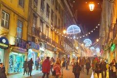 Zakupy ulica, Lisbon, Portugalia Obrazy Royalty Free