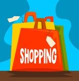 Zakupy zależność, zły przyzwyczajenie i nałóg nowożytna społeczeństwo wektoru ilustracja, ilustracji