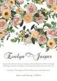 Zakurzone menchie, śmietankowe - biała antyk róża, bladych kwiatów projekta ślubu wektorowa rama Kwiaty, eustoma, brunia, paproć, ilustracja wektor