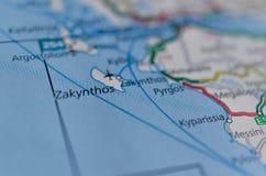 Zakynthos auf Karte stockfoto