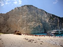 Zante. Beautiful beach Navagio with extremely blue sea.The beach has an old shipwreck.This beach is a real tourist attraction that is a must see.I love it Royalty Free Stock Images