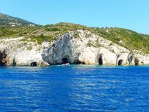 Zakynthos blue caves. Beautiful rock formations with water mirroring Royalty Free Stock Image