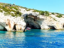 Zakynthos blue caves. Beautiful rock formations with water mirroring Royalty Free Stock Images