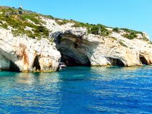 Zakynthos blue caves. Beautiful rock formations with water mirroring Stock Photography