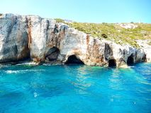 Zakynthos blue caves. Beautiful rock formations with water mirroring Stock Image