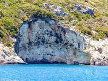 Zakynthos blue caves. Close view of wonderful relief Royalty Free Stock Photo
