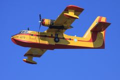 Canadair Cl215. Zakynthos/Greece August 3, 2015: Canadair Cl215 at Zakynthos Airport Royalty Free Stock Photography
