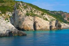 Zakynthos, Greece - incredible Blue Caves on a coastline Stock Image