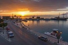 Amazing sunrise view from costal street of Zakynthos City, Ionian island, Greece. ZAKYNTHOS, GREECE - MAY 28, 2015: Amazing sunrise view from costal street of stock photo