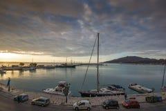 Amazing sunrise view from costal street of Zakynthos City, Ionian island, Greece. ZAKYNTHOS, GREECE - MAY 28, 2015: Amazing sunrise view from costal street of stock photos