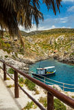 Zakynthos, Greece, Porto Roxa beach. Small fishing boats anchored at Porto Roxa, Zante (Zakynthos Royalty Free Stock Photos