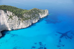Zakynthos island blue sea beach greece. Wreck Bay on Zakynthos Island - Greece. Blue sea and white sandy beach Stock Photo