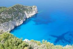 Zakynthos island blue sea beach greece. Wreck Bay on Zakynthos Island - Greece. Blue sea and white sandy beach Royalty Free Stock Photos