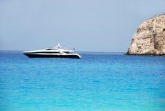 Zakynthos island blue sky and sea greece. Wreck Bay on Zakynthos Island - Greece. Blue sea, yacht and white sandy beach Royalty Free Stock Image