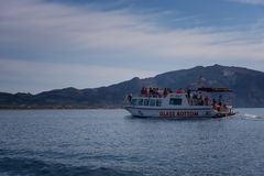 Zakynthos Island, Greece – September 24, 2017:Motorboat at the sea with tourists, Laganas beach.  royalty free stock image