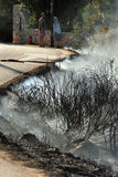 Zakynthos island low scale fire in volimes July 03 2013,Greece Stock Photography
