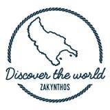 Zakynthos Island Map Outline. Vintage Discover. Stock Photo