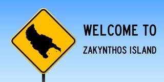 Zakynthos Island map on road sign. Wide poster with Zakynthos Island island map on yellow rhomb road sign. Vector illustration stock illustration