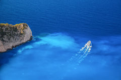 Zakynthos island with tourist boat in Greece. Famous Zakynthos island with tourist boat in Greece Royalty Free Stock Photography