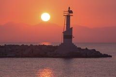 Zakynthos lighthouse and sunrise Stock Photography