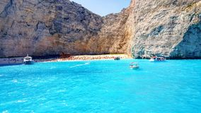 Zakynthos navaggio beach. View from boat Stock Image