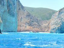 Zakynthos navaggio. Zakynthos shipwreck site and beautiful beach between the mountains Stock Images