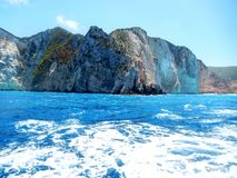 Zakynthos navaggio. Shipwreck site  and mountain seen from the beach Royalty Free Stock Images