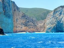 Zakynthos navaggio. Shipwreck site seen from the boat Stock Images