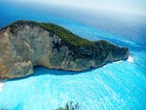 Zakynthos navaggio. Shipwreck site view from above Stock Photos