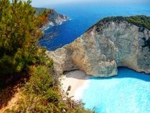 Zakynthos navaggio. Shipwreck site view from above Royalty Free Stock Photos