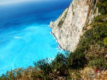 Zakynthos navaggio. Shipwreck site view from above Stock Photography