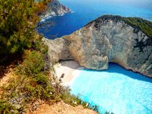 Zakynthos navaggio. Shipwreck site view from above Royalty Free Stock Images