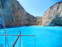 Zakynthos navaggio. Shipwreck site view from the sea Stock Images