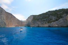 Zakynthos Navagio Bay - deep blue water beach - Greece Royalty Free Stock Photos