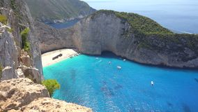 Zakynthos Navagio skeppsbrottstrand, mest berömd touristic destination i Grekland stock video