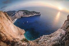 Zakynthos Navagio sunset in Greece. Artistic interpretation. Stock Photos