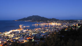 Zakynthos panorama over the capital city Zante Town at night wit. H lights on city streets Stock Photos