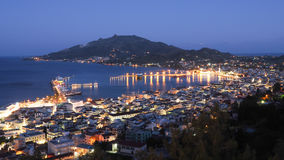 Zakynthos panorama over the capital city Zante Town at night wit Royalty Free Stock Photos