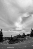 Zakynthos Road in B&W Royalty Free Stock Images