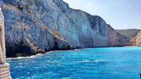 Zakynthos rocky shore. Close to shipwreck Stock Images