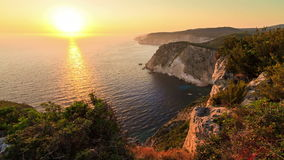Zakynthos seascape sunset timelapse. Beautiful full HD timelapse video of a summer sunset of the rocky coast of the island of Zakynthos, Greece stock footage