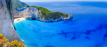 Zakynthos shipwreck beach. Navagio Bay panorama with no boats an Royalty Free Stock Photo