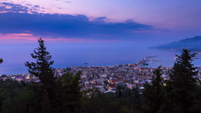 Zakynthos sunrise timelapse. Beautiful full HD timelapse video of a summer sunrise over the city of Zakynthos, Greece stock footage
